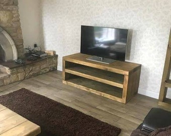 Chunky solid wood tv unit handmade. CAVEMAN FURNITURE