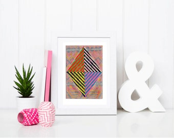 11x7.5 Geometric Abstract Painting, Pink, Yellow & Black Geometric NY1218
