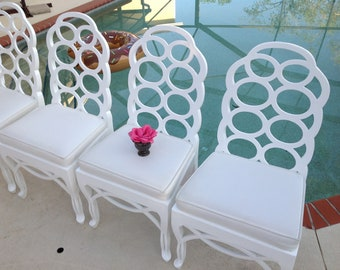 """VINTAGE """"LOOP"""" CHAIRS / Frances Elkin Style Loop Chairs / set of 4 / freshly lacquered Palm Beach Chic at Retro Daisy Girl"""