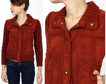 Vintage 1970s Brick Rust Red Patchwork Suede Leather & Knit Jacket by Carol Cohen | Small