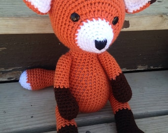 Fox doll, crochet fox doll, fox stuffed animal, fox plushie, kids toy, animal plushie, animal lovers