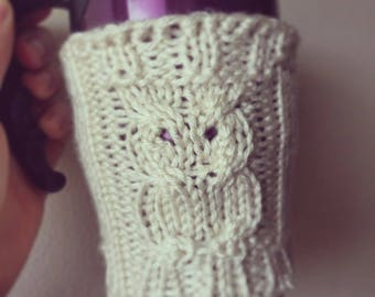 Knitted owl cup cosy coffee sleeve