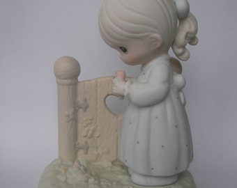 """Precious Moments """"I Will Always Be Thinking of You"""" Porcelain Figurine - Enesco - Vintage Collectible - Original Box and Paperwork - Retired"""