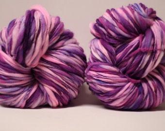 Superfine Merino Thick and Thin Wool Yarn Bulky Hand Spun Wool Slub  Hand Dyed tts(tm) Self-Striping LR1612