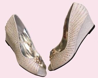 Crystal Lace Bridal / Bridesmaid / Wedge Wedding Shoes / Bridal Peep Toe Wedges