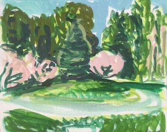 Hartriegel in voller Blüte, April 2017, original Landschaftsmalerei von Shirley Kanyon, handgefertigte Ei-Tempera auf Papier, 9.1x10 Zoll, 23x25.5cm