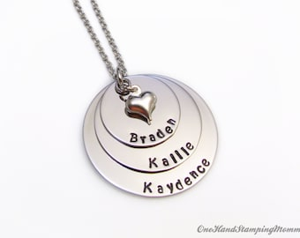Hand Stamped Jewelry - Personalized Necklace - Personalized Mom Necklace - Hand Stamped Necklace - Nana Necklace - Grandma Necklace