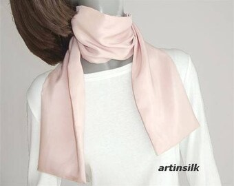 Rose Dust Blush Silk Scarf Hand Dyed Chiffon, Champagne Beige Peach, Muted Tea Rose Scarf, Handmade, Jossiani.