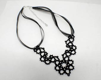 Black Necklace, Black Lace Necklace, Black Beaded Necklace, Lace Jewelry, Black Jewelry, Gift For Her, Elegant Necklace, Tatted Lace Jewelry