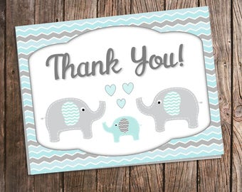 Elephant Thank You Cards for Baby Shower - Blue and Gray Chevron - Printed Thank You Notes with Envelopes - Aqua Baby Boy Elephant Shower