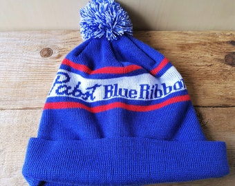 92155fb8841 PABST Blue Ribbon Beer Vintage 80s Beanie Knit Toque Pom Winter Ski Hat  Retro Stocking Cap