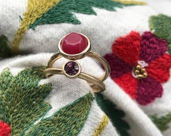 Stackable Rings- Plum Red Gemstone- Rhinestone -Goldtone - Set of 2