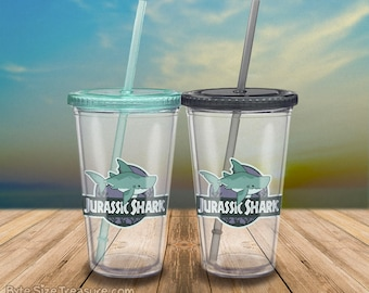 Jurassic Shark Megalodon Drinkware // Tumbler / Straw / Reusable Cups