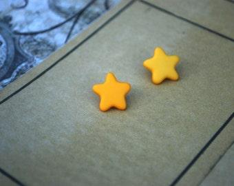 Star Earrings -- Star Studs, Yellow Star Earrings, Shooting Star Earrings, Geekery Jewelry