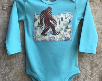 Bigfoot Walks Oregon State - Baby Bodysuit for Boys, Girls - Sasquatch Gift for Birthdays, Baby Showers, Photo Shoots - Request other States