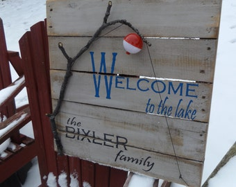 Welcome to the Lake Sign, Handmade, Rustic Lake Sign, Rustic Cottage Sign, Distressed Personalized Name Sign, Custom Lake Sign, Fishing