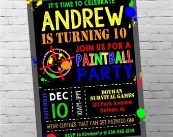 Paintball Birthday Invitation   Paintball Invitation   Paintball Party   Boy Birthday Invitation   Digital Invitation
