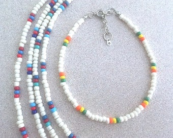 White Glass Seed Bead & Multicolored Accent Bead Ankle Bracelet, Plus Size BOHO Stacking Anklets, Trending Anklets w/Seed Beads Handmade