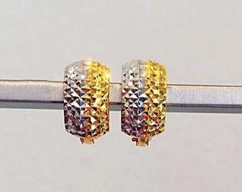 7mm Diamond cut 2 tones Solid 22k gold purity earrings 916 gold