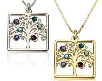 Birthstone Family tree necklace | Sterling Silver| Gold Plated| mothers jewelry