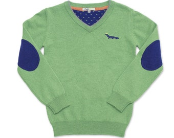 SALE: Toddler Boys Green Cashmere Wool Blend Sweater V-Neck Blue Elbow Patch Top