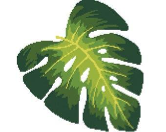 Tropical Montsera Leaf Digital Cross Stitch Pattern (PDF)