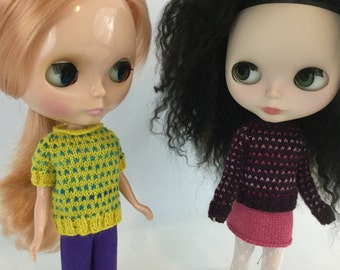 Blythe doll Romilda Sweater knitting PATTERN - fun cute retro 1980s polka dot sweater - instant download - permission to sell finished items