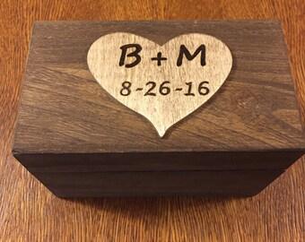 Heart Recipe Box, Rustic Personalized Recipe Box, Engraved Initial and Date Heart, 4x6 Recipe Card Box, Stained Recipe Box, Wood Recipe Box
