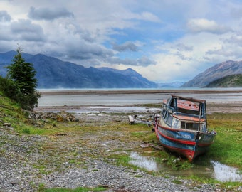 Patagonia Boat At Low Tide Photo A6 Greetings Card