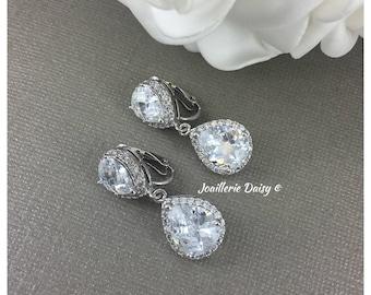Clip on Earrings Bridal Jewelry Wedding Earrings Dangle Earrings CZ Earrings Bridal Statement Earrings Cubic Zirconia Earrings Drop Earrings