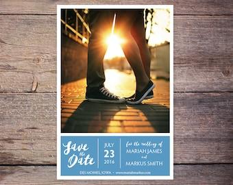 Save the Date Postcard, Save-the-Date Card, Calendar, Photo, Blue, DIY Printable, Digital File