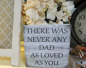 """Wood sign, Home Decor, Office Decor, Dad sign, Father's Day, """"There was never any dad as loved as you"""""""