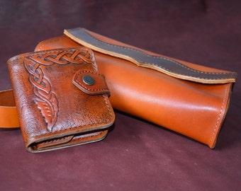 Genuine leather short wallet. 100% handmade. Leather card holder. Business card holder. Wallet for women.