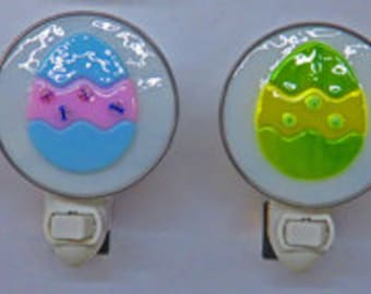 Easter Egg NightLights -4 Fused Glass Easter Egg Night Lights To Choose From - Purple, Violet, Green, Yellow Easter Eggs