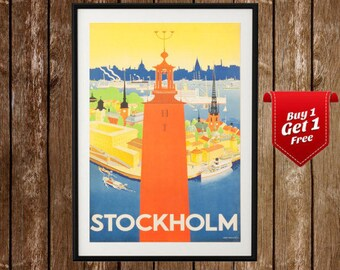 Stockholm Poster - Vintage Poster, Stockholm Print, Sweden , Sweden Print, Vintage Scandinavian, Scandinavian Print, Scandinavian Poster