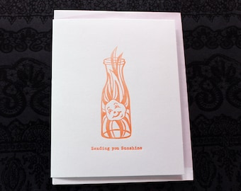 Sending You Sunshine Letterpress Card ~ Handmade ~ FREE shipping within the US ~