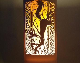 Art Nouveau jumping fox lamp