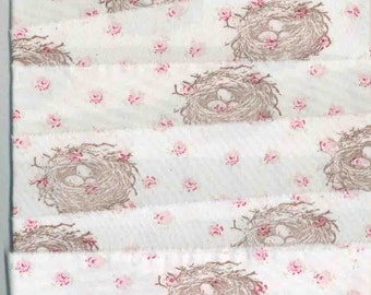 4 yards  birds nest pink roses birds nest,muslin Rachel Ashwell shabby chic fabric hand made,  rubber stamped  ribbon ,wedding ... 1008