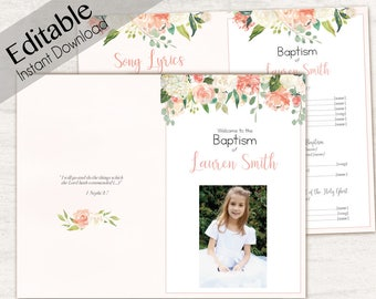 Baptism Program, Editable PDF, Printable Digital Handout Girl Baptism, peach flowers, Girl Baptism, white, Baptism Program Template