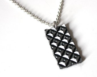 Short silver necklace | studs, sturdy, black, gift, handmade, reclaimed, eco friendly