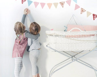 Girls Vintage Bunting Flags Fabric Decal Wall Stickers by Schmooks