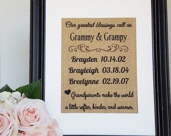 Grandparents Gift - Grandkids Sign - Gift From Grandkids - Grandchildren Names - Grandchildren Sign - Grammy Gift - Grandparents Burlap Sign