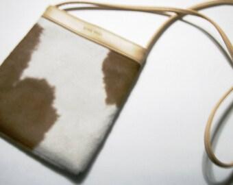 Purse NINE WEST Designer Cow Hide Pattern Tan Shoulder Handbag Fabric Lined Purse Classic Style Western Handbag Southwest Style Shoulder Bag