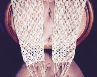 Hand Crocheted Lace Alpaca Scarf