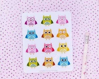 Cute owls, matte or glossy sticker set,  Owl, Animals, Halloween, Autumn stickers