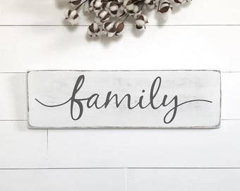 """Rustic wood sign   family sign   rustic wall decor   wood sign   24""""x 7.25"""""""
