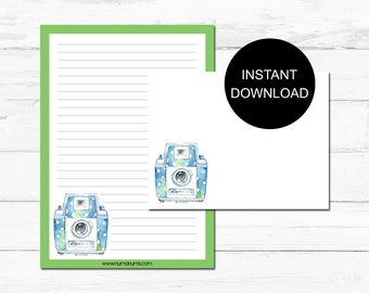 Stationery Set | polka dot camera | letter writing set | digital | instant download | printable