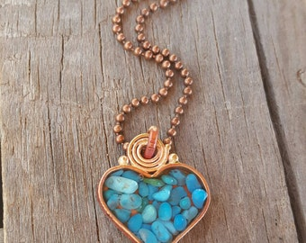 Long Turquoise Heart Necklace  - Valentine - Blue Turquoise - Sleeping Beauty - Rustic Copper Heart - Cowgirl Jewelry - Copper Ball Chain