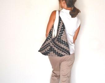 Granny Square Bag Crochet Shoulder Handbag Black Mauve Pink Boho Hobo Purse