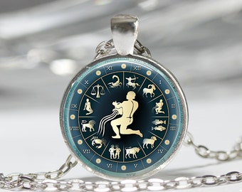 Aquarius Necklace Zodiac Jewelry January February Birthdays Astrology Art Pendant in Bronze or Silver with Link Chain Included